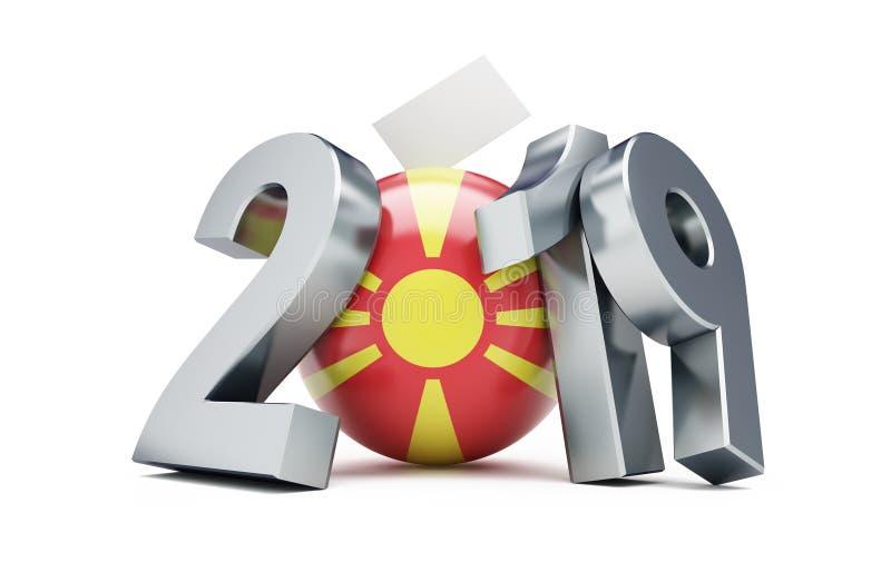 Eleição presidencial em Macedônia do norte 2019 em uma ilustração branca do fundo 3D, rendição 3D ilustração do vetor