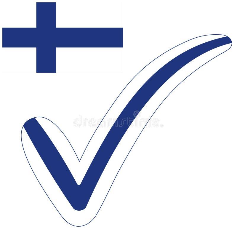 Eleições do símbolo da bandeira da república de Finlandia do estilo da marca de verificação, votação e aprovação, tiquetaque fi d ilustração royalty free