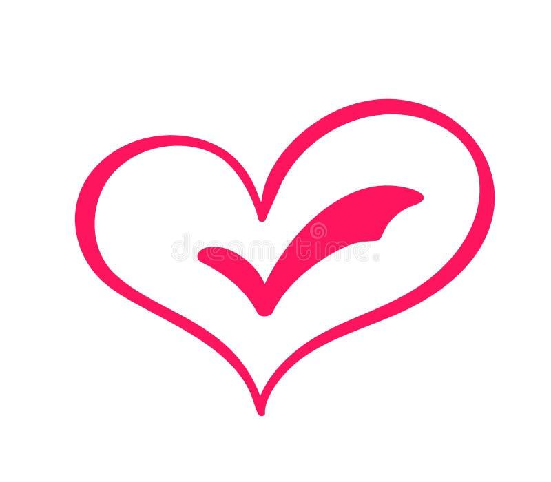 Eleições tiradas mão do sinal do amor do coração Símbolo romântico do ícone da ilustração do vetor da caligrafia para o t-shirt,  ilustração royalty free