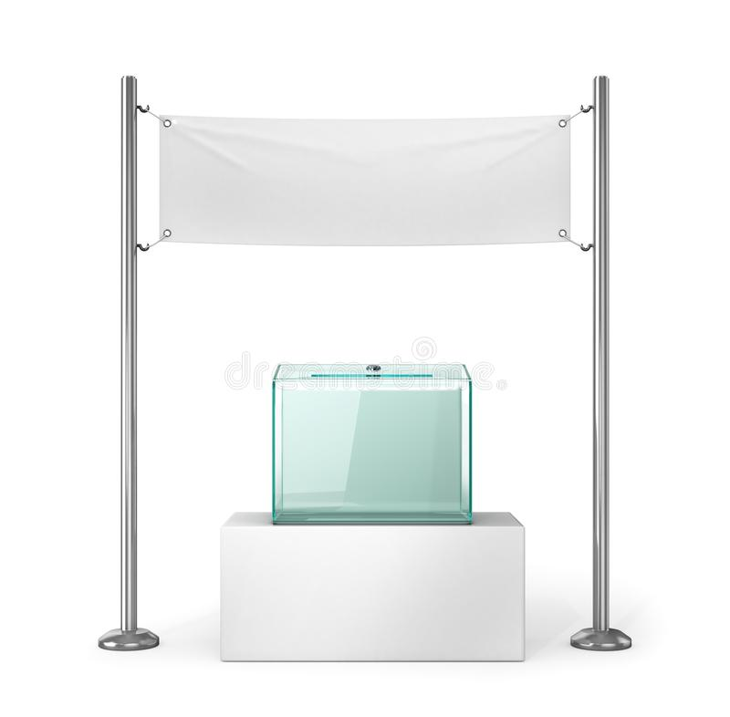 Eleições, votando Urna de voto de vidro e bandeira vazia branca para anunciar ilustração royalty free