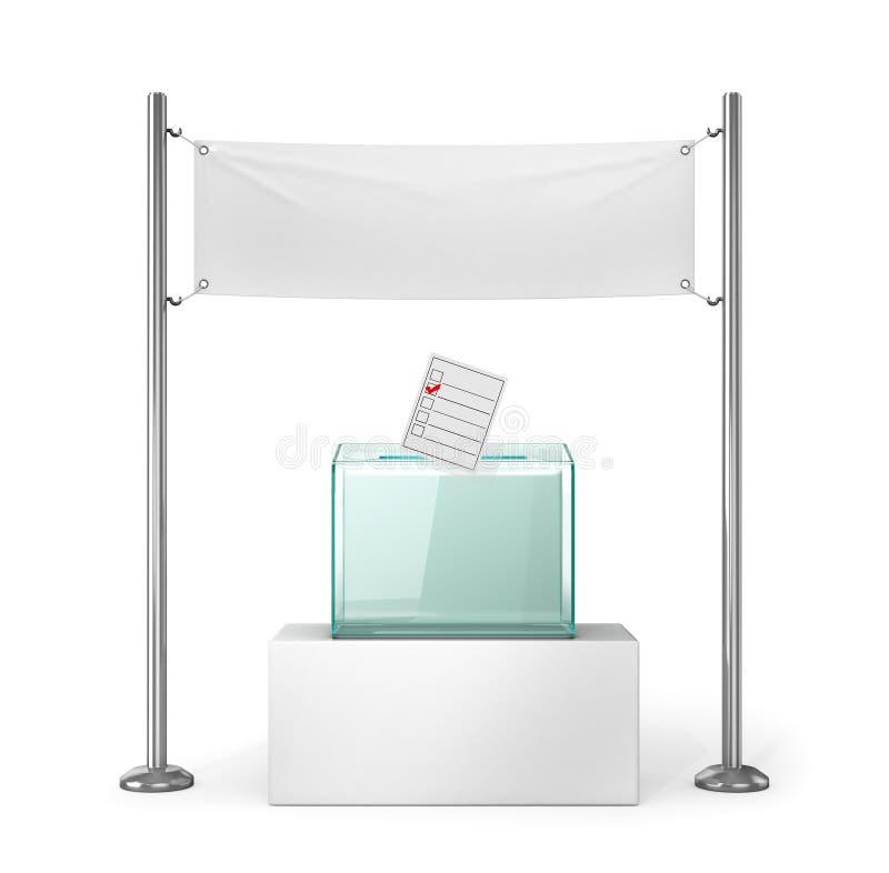 Eleições, votando Urna de voto de vidro e bandeira vazia branca para anunciar ilustração stock