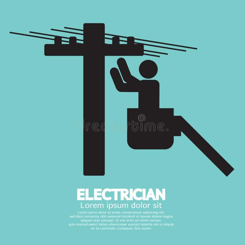 Elektricien Black Sign royalty-vrije illustratie
