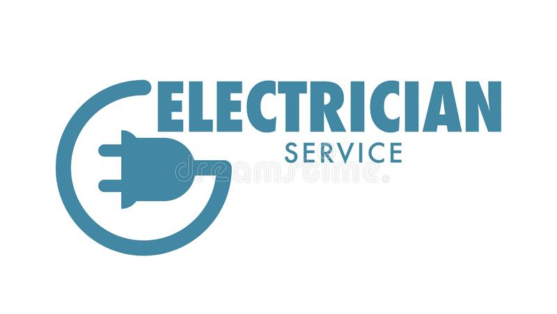 Elektricien de dienst geïsoleerd pictogram logotype van bedrijf voor het bevestigen van problemen vector illustratie