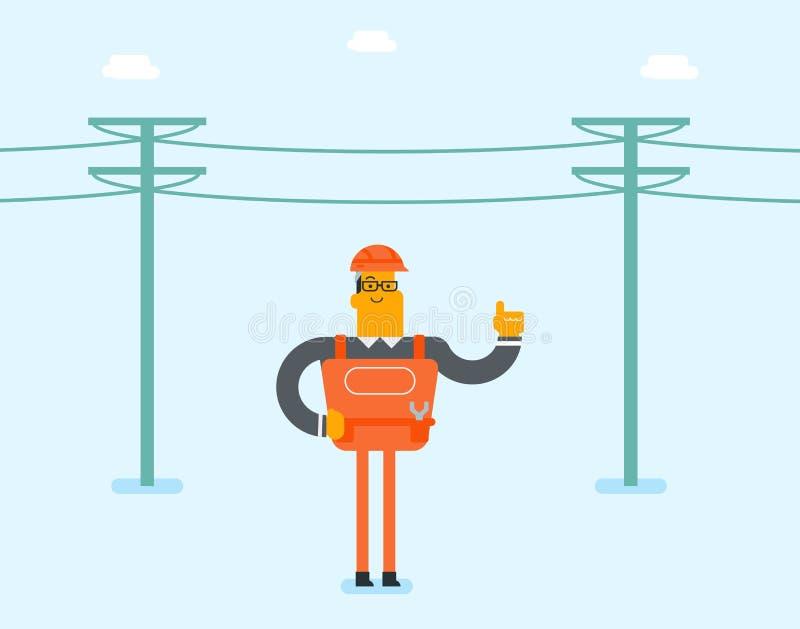 Elektricien die een stroompool herstellen vector illustratie