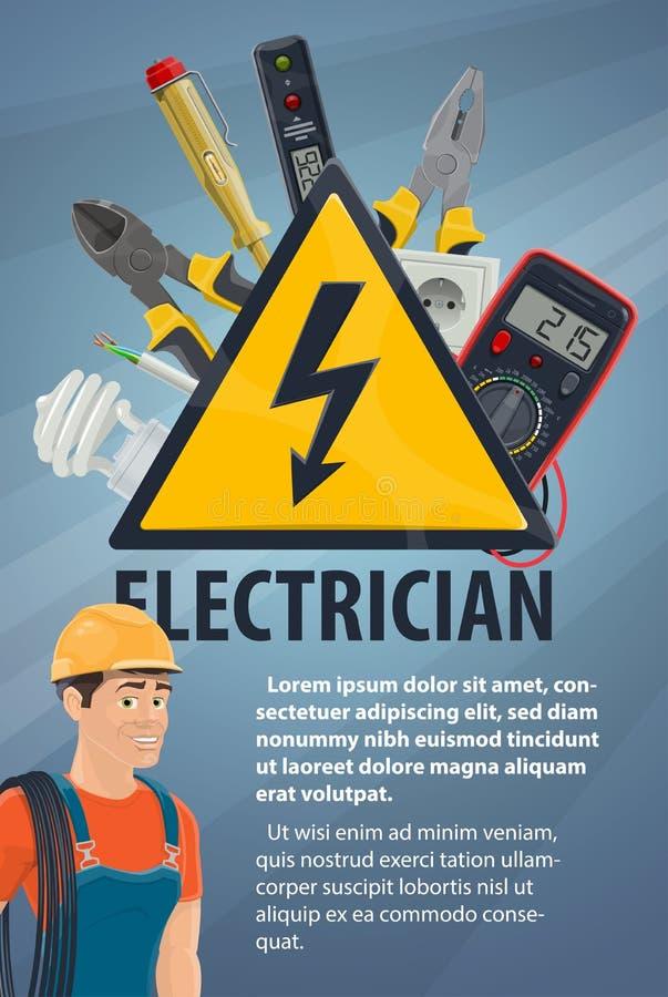 Elektricien met elektromateriaal, hulpmiddelbanner stock illustratie