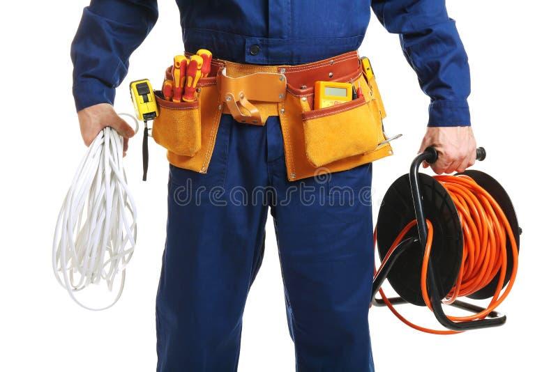 Elektricien met speciale hulpmiddelen stock fotografie