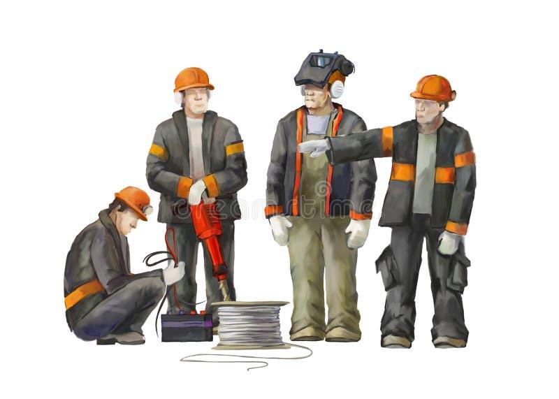 Elektricien, projectleider, de arbeider van de hefboomhamer Bouwers die aan bouwwerkzaamhedenillustratie werken royalty-vrije illustratie