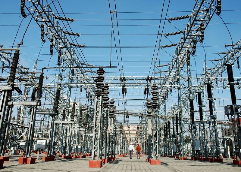 Elektriciteit, de industrie, technologie, macht, power-line royalty-vrije stock foto