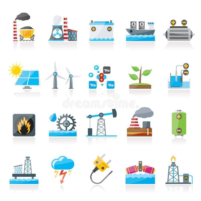 Elektriciteit en energiebronpictogrammen stock illustratie