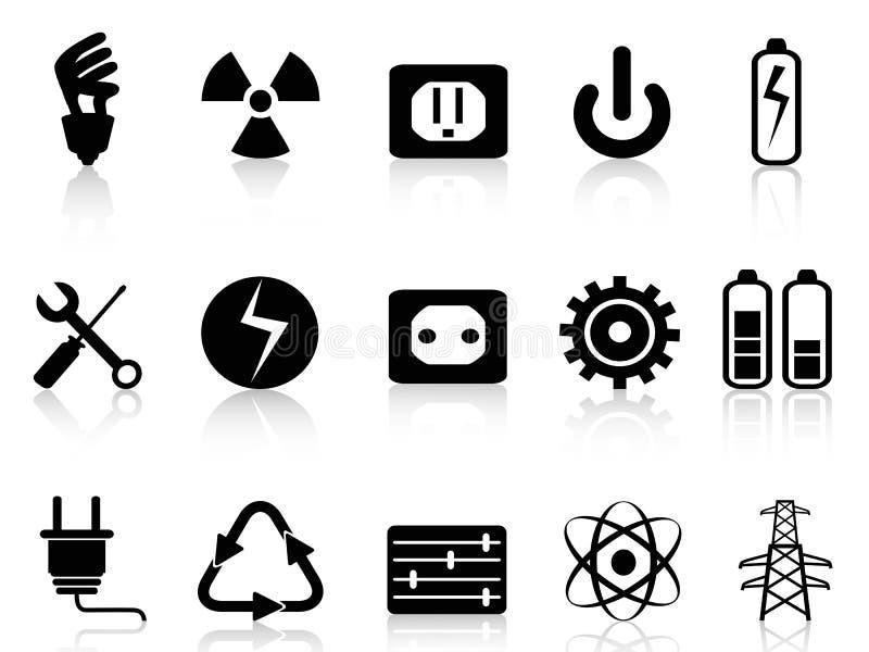 Elektriciteit en machts geplaatste pictogrammen vector illustratie