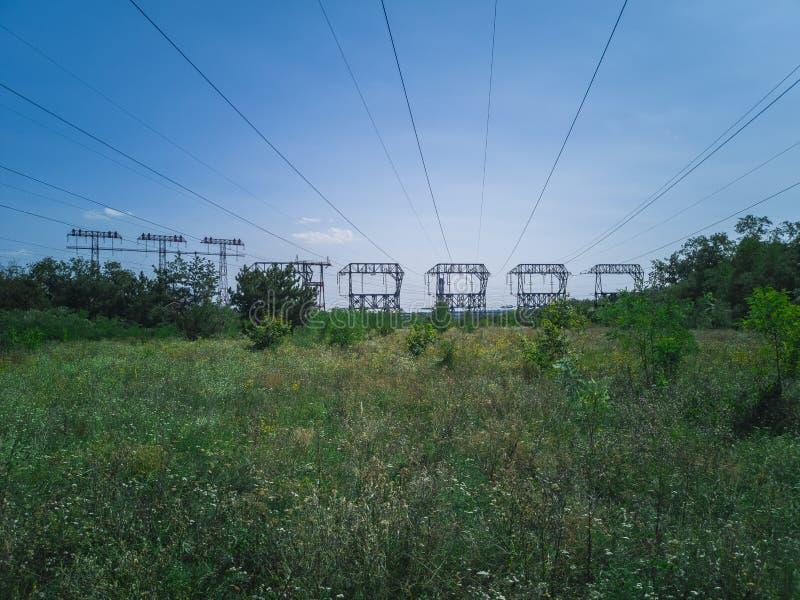 91-elektriciteit Pylonen stock afbeelding