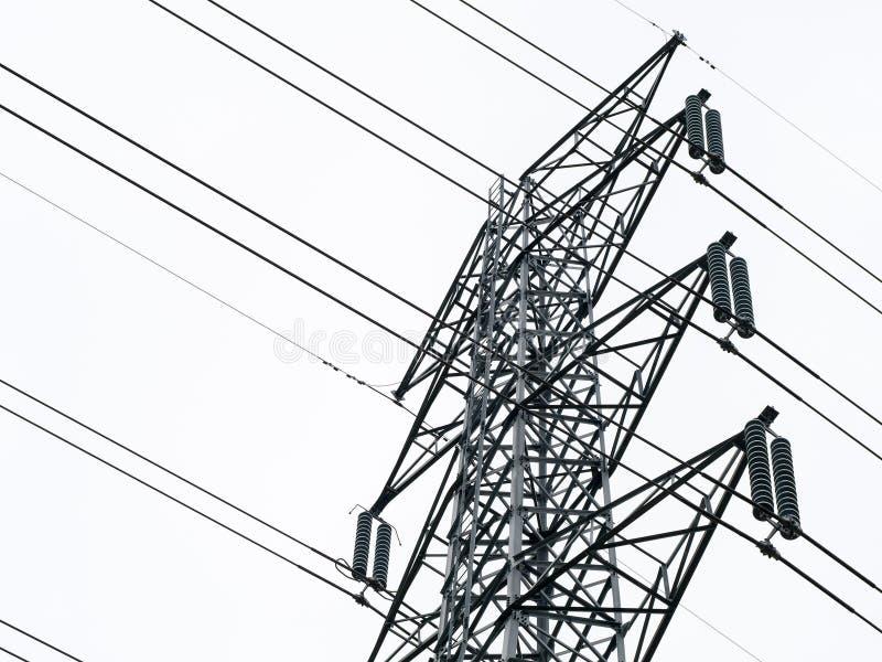 Elektriciteits postclose-up van elektrische die pooltoren op witte achtergrond wordt geïsoleerd royalty-vrije stock foto