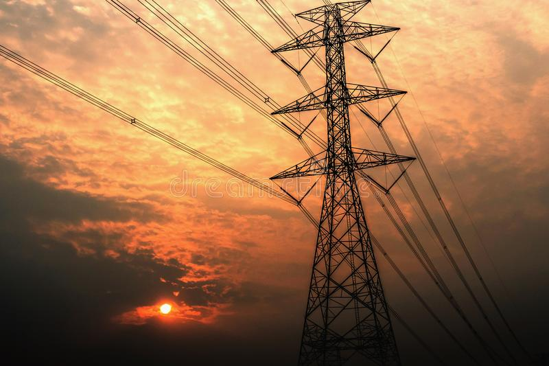 elektriciteits pylon hoogspanning stock foto's