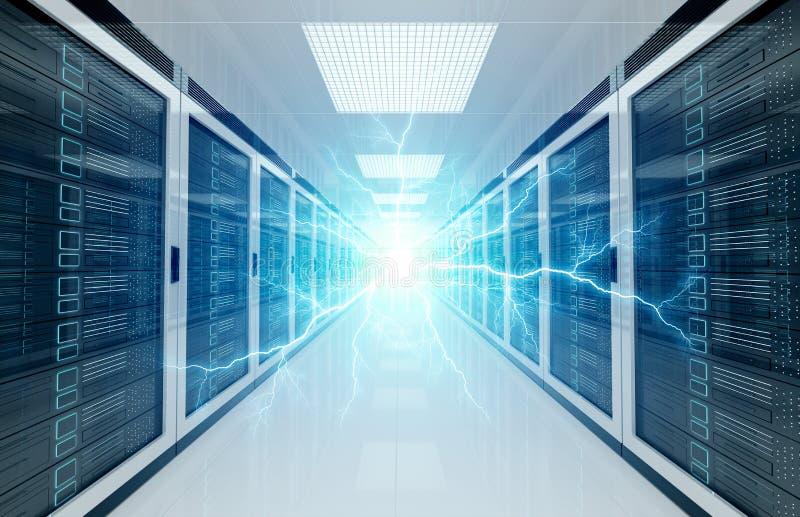 Elektriciteitsbliksem in de systemen van de de ruimteopslag van het serversdatacentrum het 3D teruggeven vector illustratie