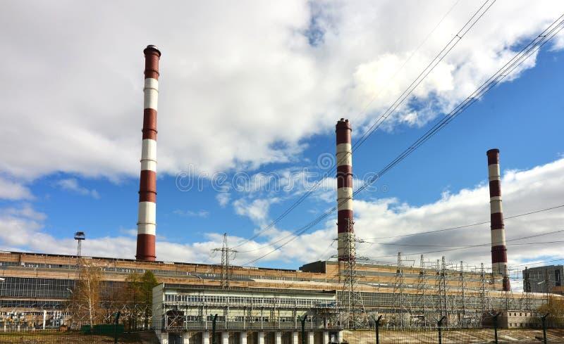 Elektriciteitsinstantie de energieconcept van de Postelektrische centrale stock fotografie