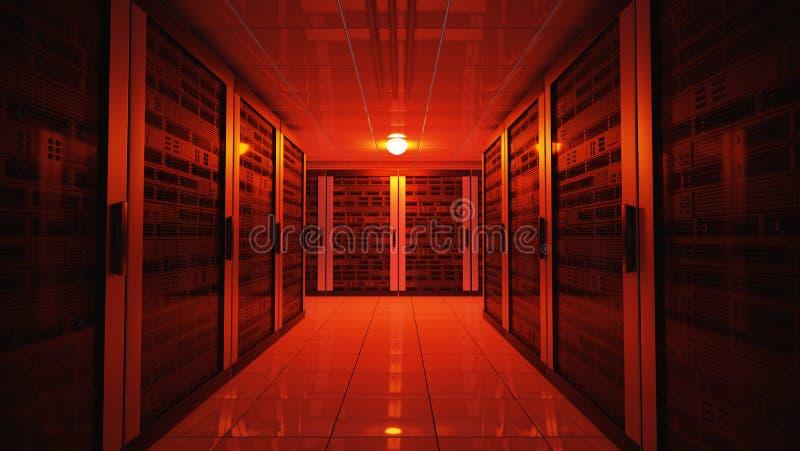 Elektriciteitspanneconcept Het rode licht van de noodsituatiemislukking in gegevenscentrum met servers 3D teruggegeven illustrati royalty-vrije illustratie