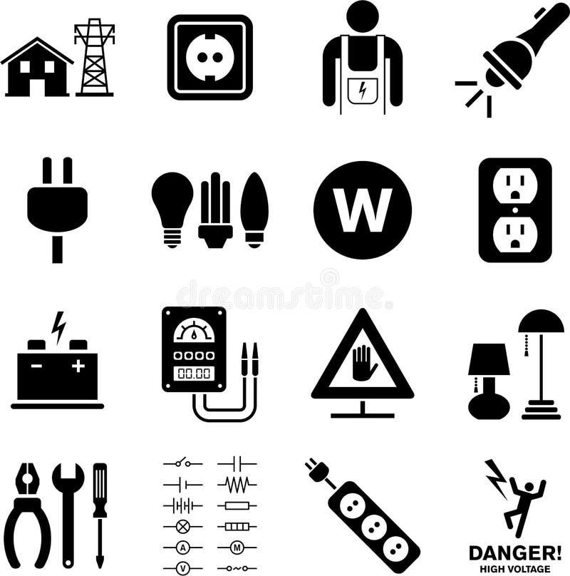Elektriciteitspictogrammen vector illustratie