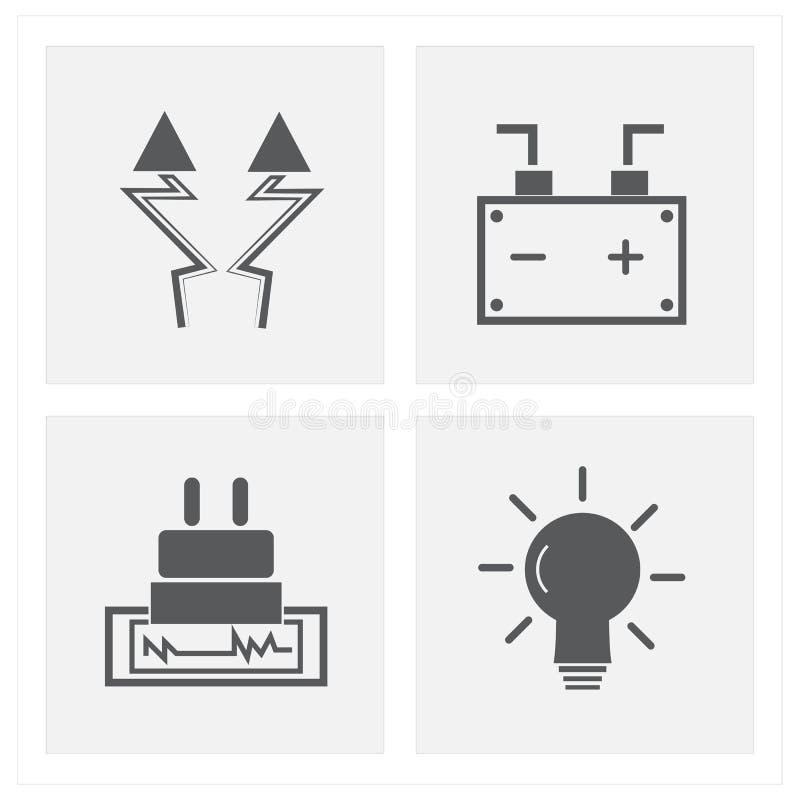 Elektriciteitspictogrammen sest royalty-vrije stock fotografie