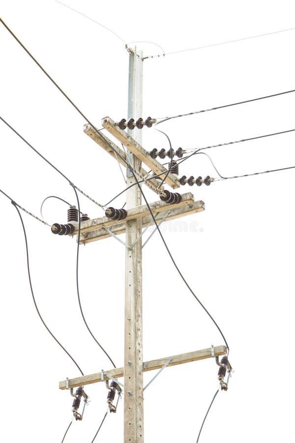 Elektriciteitspost in geïsoleerd op wit royalty-vrije stock afbeelding