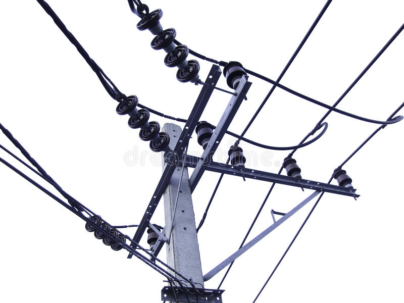 Elektriciteitspost op wit wordt geïsoleerd dat stock afbeelding