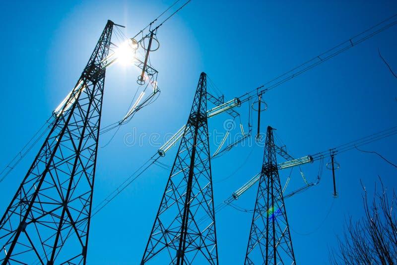 Elektriciteitssteun royalty-vrije stock afbeeldingen