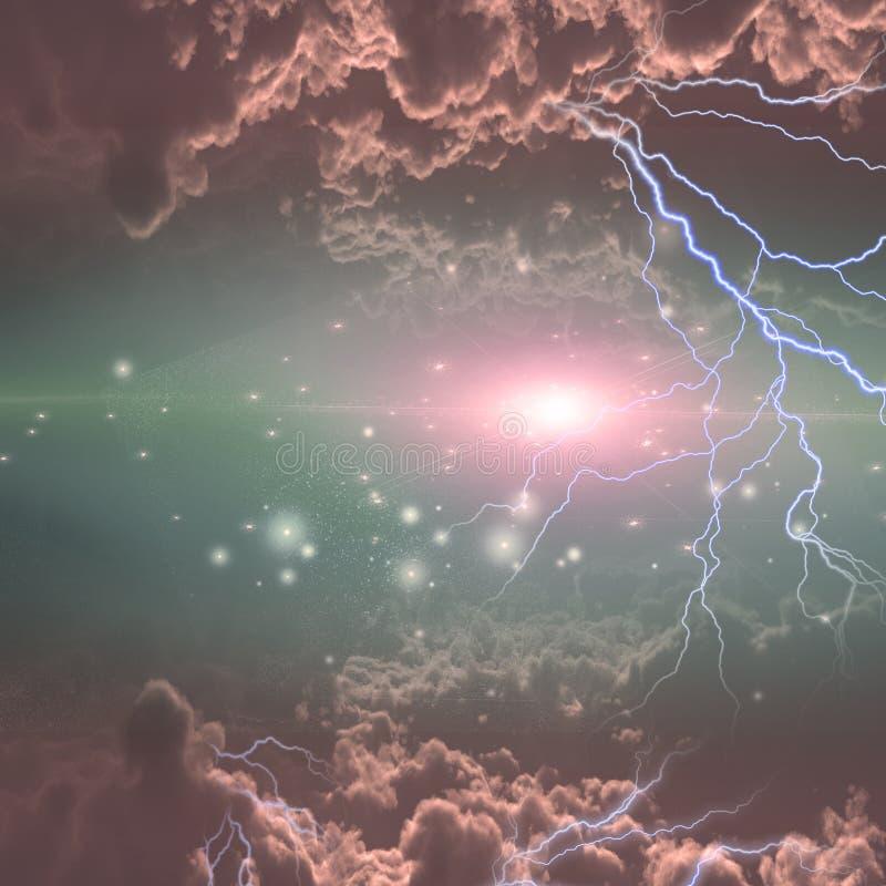 Elektricitet exponerar i djupt utrymme stock illustrationer