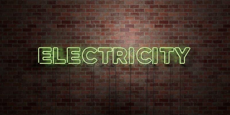 ELEKTRICITET - fluorescerande tecken för neonrör på murverk - främre sikt - 3D framförd fri materielbild för royalty stock illustrationer