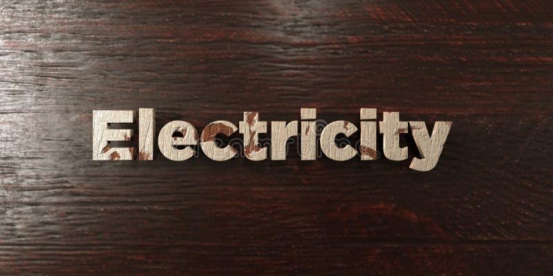 Elektricitet - grungy trärubrik på lönn - 3D framförd fri materielbild för royalty royaltyfri illustrationer