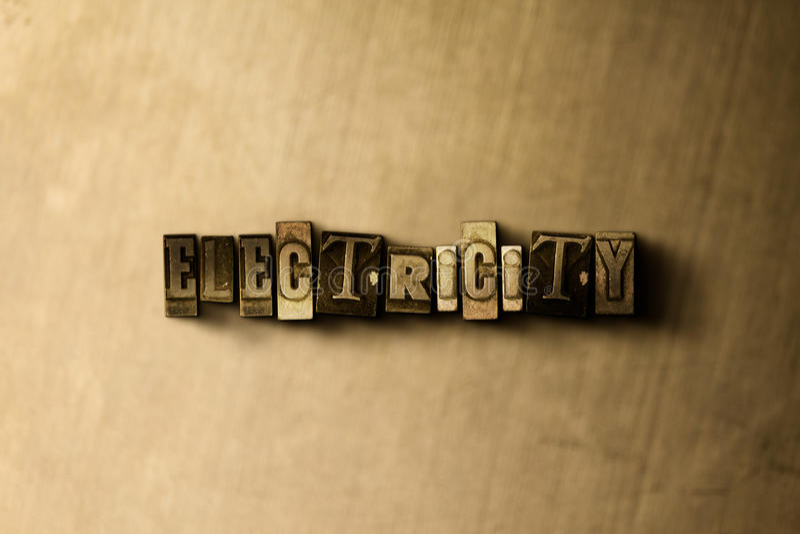 ELEKTRICITET - närbild av det typsatta ordet för grungy tappning på metallbakgrunden royaltyfri illustrationer