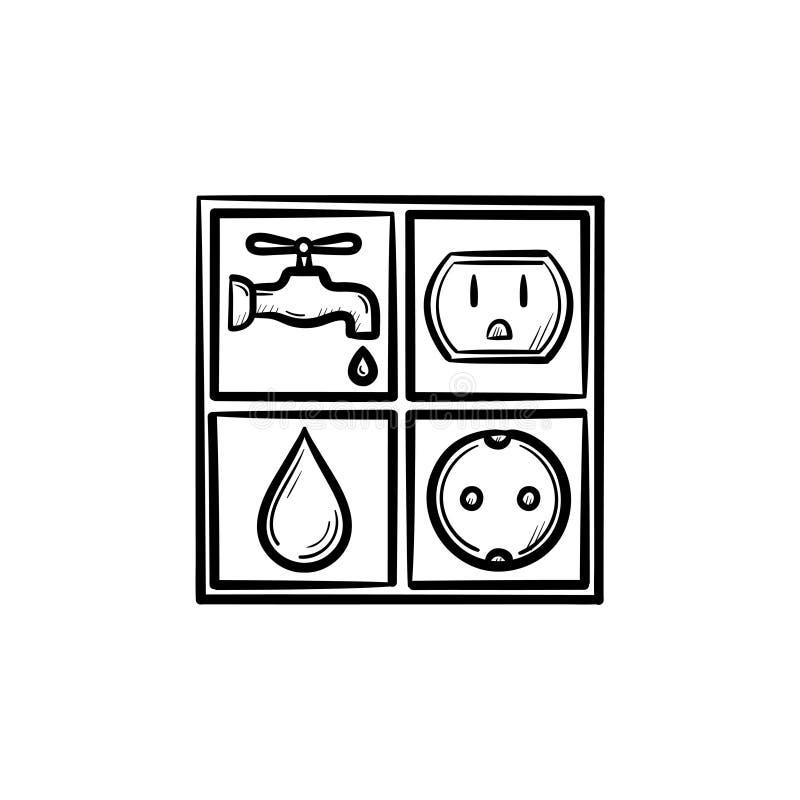 Elektricitet och den drog vattenteckenhanden skissar symbolen vektor illustrationer