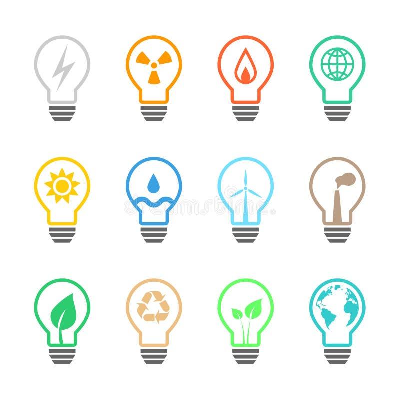 Elektricitet och makt släkt lightbulbuppsättning royaltyfri illustrationer