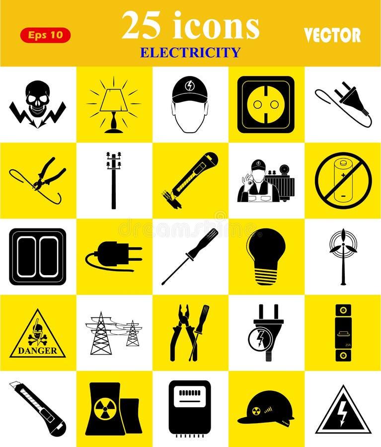 Elektricitet 25 symboler ställde in för rengöringsduk och mobil stock illustrationer