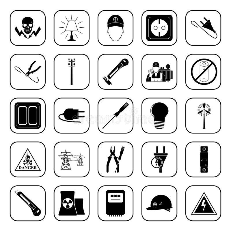 Elektricitet 25 symboler ställde in för rengöringsduk och mobil vektor illustrationer