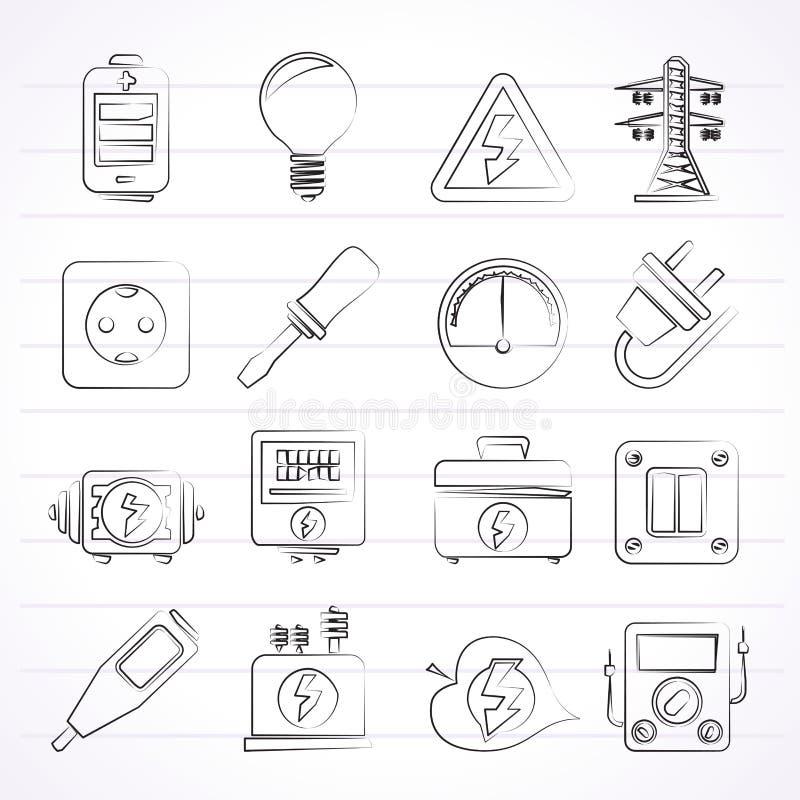 Elektricitets-, makt- och energisymboler royaltyfri illustrationer