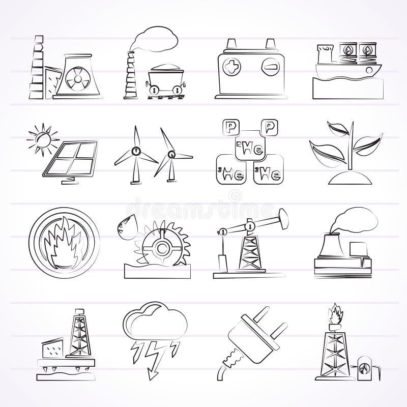Elektricitets- och energikällsymboler vektor illustrationer