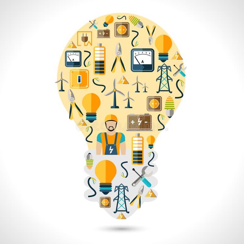 Elektricitetsbegreppslägenhet stock illustrationer
