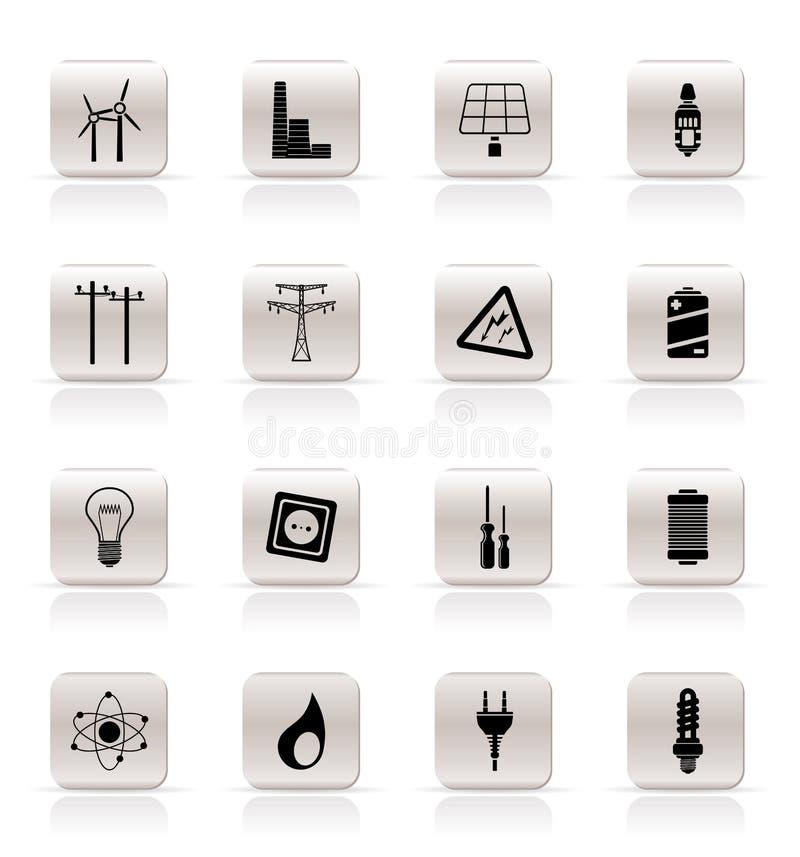 elektricitetsenergisymboler driver enkelt stock illustrationer