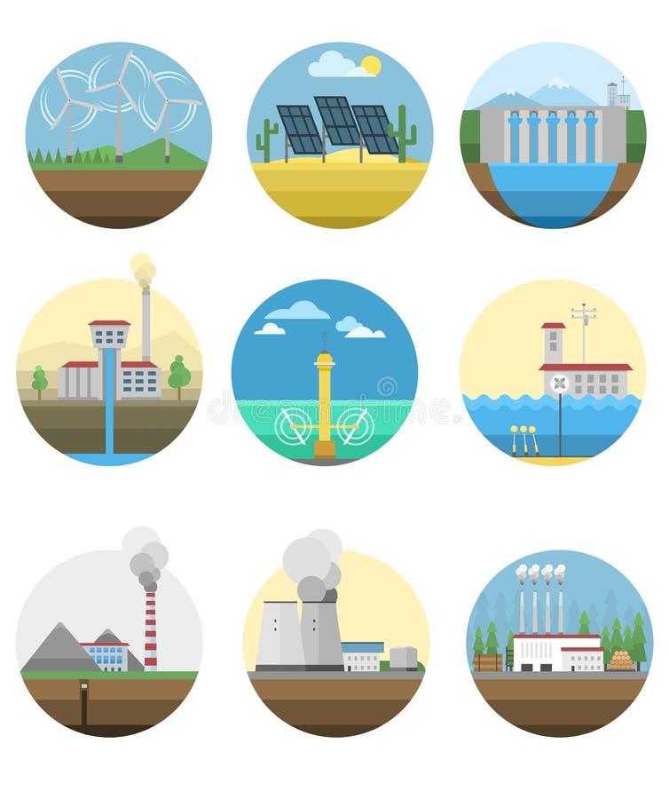 Elektricitetskraftverk för alternativ energi vektor illustrationer