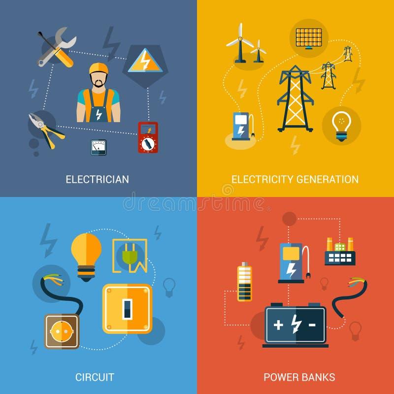 Elektricitetslägenhetuppsättning vektor illustrationer