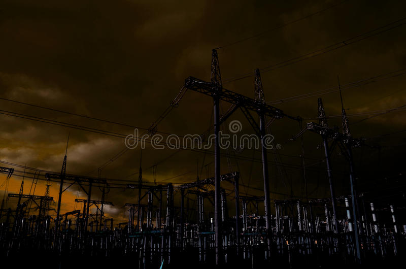 elektricitetslinje pylon royaltyfri fotografi