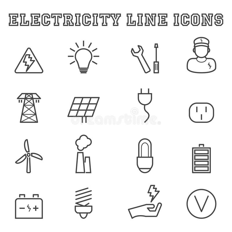Elektricitetslinje symboler royaltyfri illustrationer