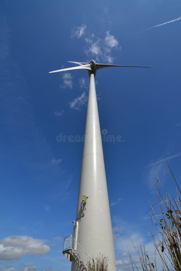 Elektricitetsmakt som frambringar vindturbinen från lågt perspektiv fotografering för bildbyråer