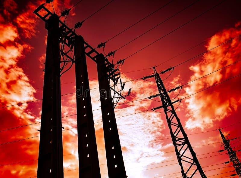 elektricitetspoler fotografering för bildbyråer