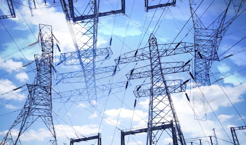 Elektricitetspyloner royaltyfri fotografi
