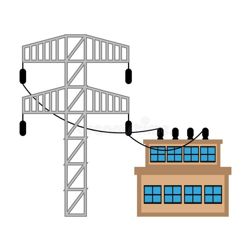 Elektricitetspyloner och kraftverk stock illustrationer