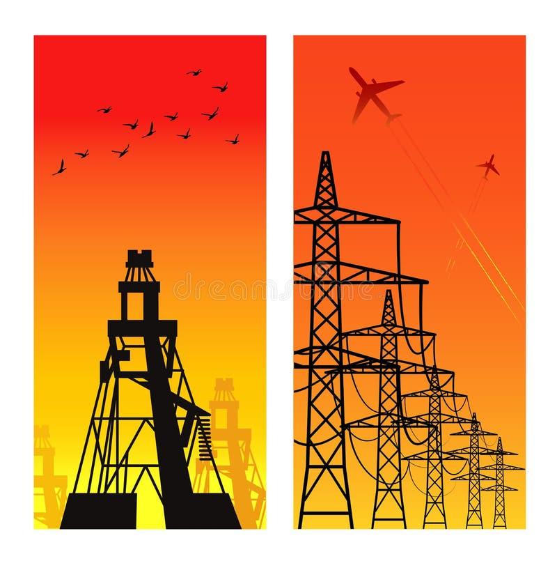 elektricitetspylons stock illustrationer