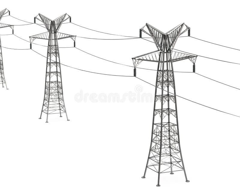 Elektricitetspylons i kornfält royaltyfri illustrationer