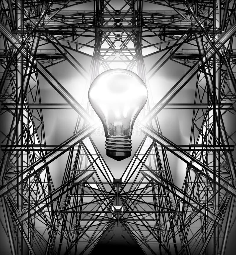 Elektricitetspylons i kornfält Kulabrännskadorna royaltyfri illustrationer