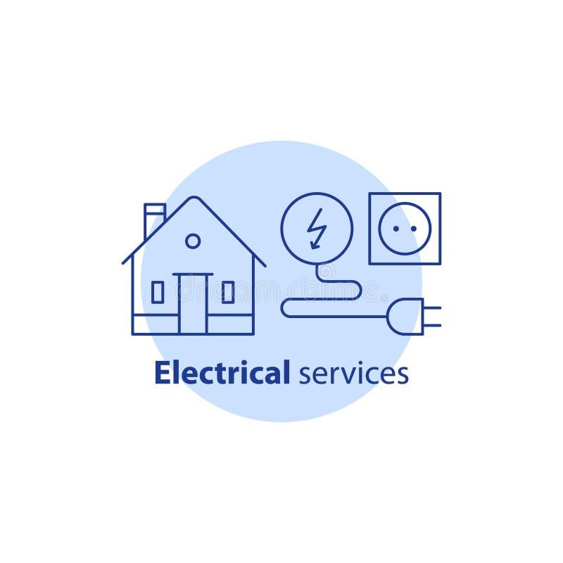 Elektricitetsreparationsarbeten, inhyser elektrisk service, hemförbättring, vektorslaglängdsymbol vektor illustrationer