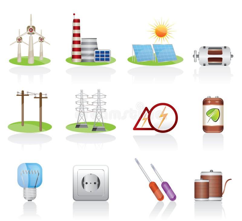 elektricitetssymbol royaltyfri illustrationer